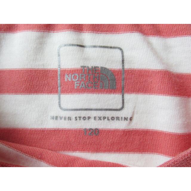 THE NORTH FACE(ザノースフェイス)のキッズ ノースフェイス ボーダー長袖カットソー サイズ120  キッズ/ベビー/マタニティのキッズ服男の子用(90cm~)(Tシャツ/カットソー)の商品写真