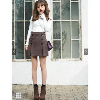 グレイル(GRL)のGRL グレイル チェック ダブルボタン ミニスカート 美品 ブラウン(ミニスカート)