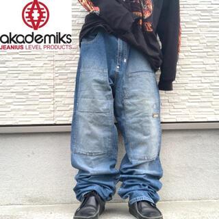アカデミクス(AKADEMIKS)のアカデミクス ワイド デニム バギーパンツ ダブルニー 刺繍 hip hop(デニム/ジーンズ)