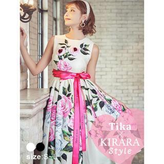 デイジーストア(dazzy store)の【美品】Tika 明日花キララ フラワードレス ロングドレス キャバドレス(ミディアムドレス)