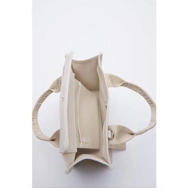 ZARA(ザラ)のZARA ロゴストラップ ミニトートバッグ ショルダーバッグ キャンパスバッグ レディースのバッグ(トートバッグ)の商品写真