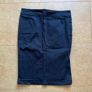 ムジルシリョウヒン(MUJI (無印良品))の無印良品台形スカート61S黒スリットストレッチ仕事用オフィス用にもタイトスカート(ひざ丈スカート)