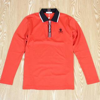 マークアンドロナ(MARK&LONA)の新品未使用 ポロシャツ マーク&ロナ  長袖ポロシャツ Lレッド(ウエア)