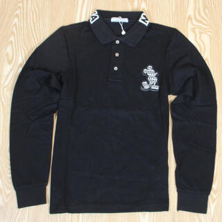 マークアンドロナ(MARK&LONA)の新品未使用 ポロシャツ マーク&ロナ  長袖ポロシャツ Lブラック(ウエア)