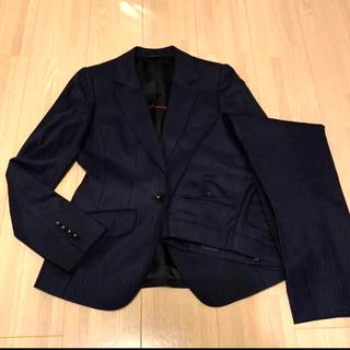 青山 - 洋服の青山 ネイビー ストライプ  パンツスーツ 小さいサイズ 7号