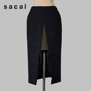 サカイ(sacai)の15aw sacai(サカイ) チェック スカート(ロングスカート)