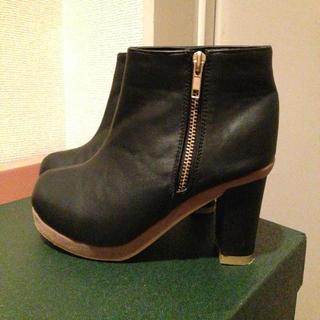 黒のバイカラーブーティLL(ブーツ)
