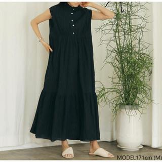 シールームリン(SeaRoomlynn)のマオカラーフリルティアードドレス ブラック S シールームリン(ロングワンピース/マキシワンピース)