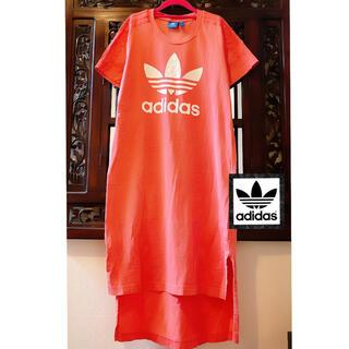 adidas - アディダス シンプル ピンク ビッグロゴ タンクトップ Tシャツ ワンピース