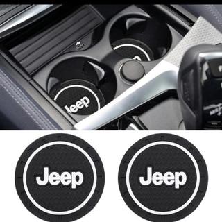 ジープ(Jeep)の限定1点のみ!★ジープJeep★ドリンク置き場ラバーマット2枚セット(車内アクセサリ)