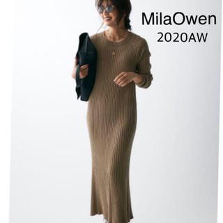 Mila Owen - 美品【MilaOwen】ラグランリブニットワンピース サイズ1/YEL