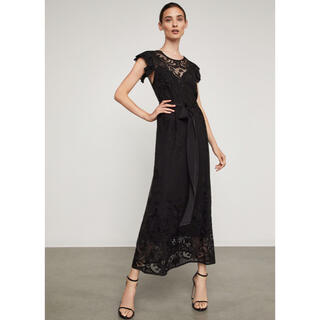 ビーシービージーマックスアズリア(BCBGMAXAZRIA)のsale❤️BCBGMAXAZRIA21新作新品黒ロングワンピース ドレス結婚式(ロングワンピース/マキシワンピース)