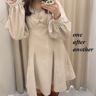 one after another NICE CLAUP - 新品 one after another 後ろレースアップ胸クシュミニワンピース