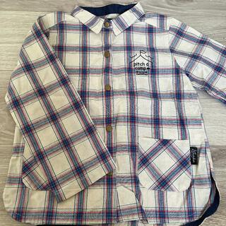 フタフタ(futafuta)のクランボン/秋物/長袖チェックシャツ 白 110cm(ブラウス)