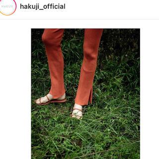 IENA SLOBE - Hakuji ハクジ ニットパンツ オレンジ ブラッドオレンジ リブニット