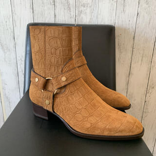 サンローラン(Saint Laurent)のサンローランパリ 20AWワイアットクロコダイルパターン スエードブーツ(ブーツ)
