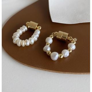 パールイヤーカフ磁石レディース2個セット真珠挟むイヤリングゴールド金色