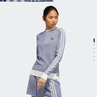 アディダス(adidas)のマルチチェックパターン ジャカード 長袖クルーネックセーター(シャツ/ブラウス(長袖/七分))