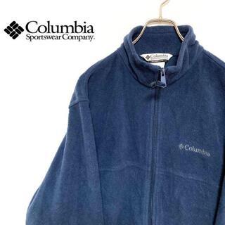 コロンビア(Columbia)の●Columbia● アメリカ古着 刺繍 フリースジャケット ネイビー メンズ(ブルゾン)