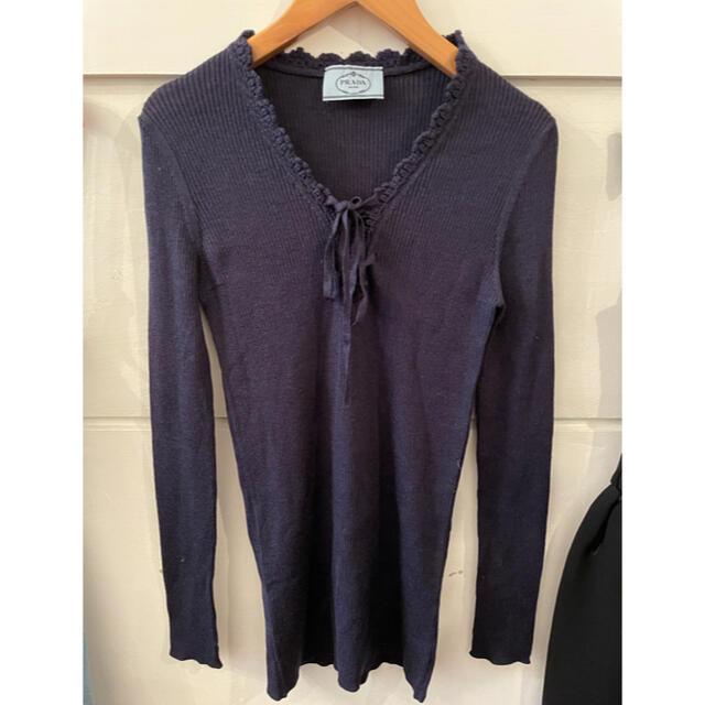 PRADA(プラダ)の最終お値下げ🖤PRADA lace up ribbon knit. レディースのトップス(ニット/セーター)の商品写真