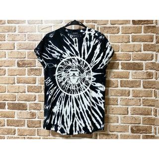 バルマン(BALMAIN)のBALMAIN バルマン メダリオン タイダイ染めTシャツカットソー 黒白 XS(Tシャツ/カットソー(半袖/袖なし))
