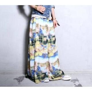 antiqua - アンティカ アート柄ロングスカート