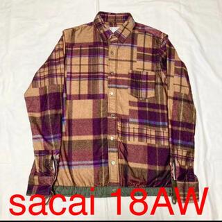 サカイ(sacai)のsacai 18AW ドローコードチェックネルシャツ シャツジャケット(シャツ)