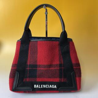 Balenciaga - BALENCIAGA 美品 赤 ネイビーカバス S チェック 希少 バレンシアガ