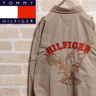 TOMMY HILFIGER - トミーヒルフィガー シャツ 長袖 ベージュ バックデザイン 刺繍 イーグル L