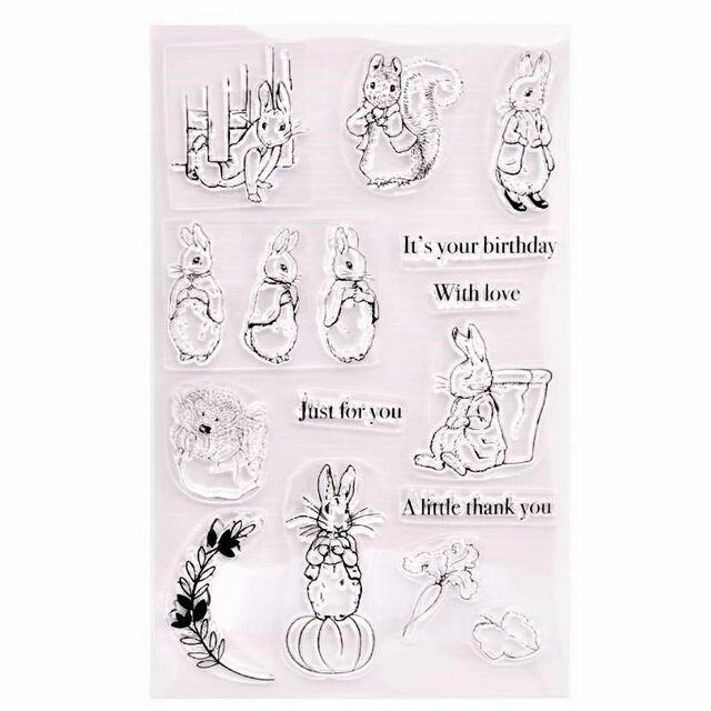 クリアスタンプ ウサギ リス N-71 インテリア/住まい/日用品の文房具(印鑑/スタンプ/朱肉)の商品写真