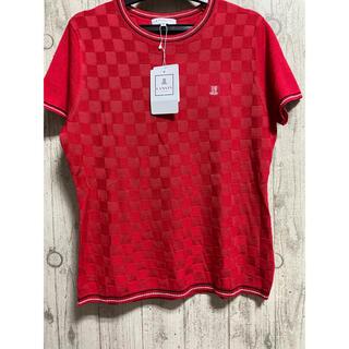 ランバン(LANVIN)の36,300円 ランバン ゴルフウェア ニット 40 赤 大きいサイズ L 半袖(ウエア)