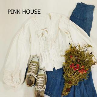 PINK HOUSE - ピンクハウス ブラウス ホワイト ノーカラー リボン フリル バルーンスリーブ