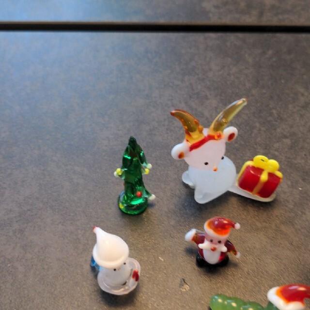 ピーチ様専用〜ガラス細工 ミニチュア クリスマス ぞうさん お雛様 クマさん インテリア/住まい/日用品のインテリア小物(置物)の商品写真