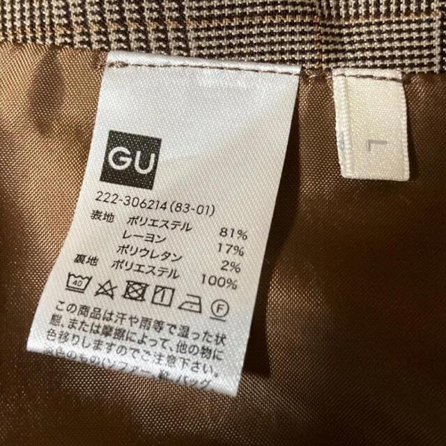 GU(ジーユー)のGU ジーユー チェックスカート  タイトスカート 秋 レディース ブラウン L レディースのスカート(ひざ丈スカート)の商品写真