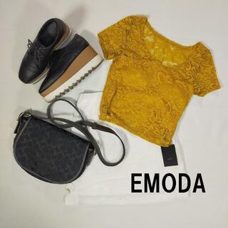 エモダ(EMODA)の未使用 EMODA エモダ イエロー カットソー 黄 フリーサイズ 花柄 レー.(Tシャツ(半袖/袖なし))
