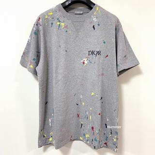 ディオールオム(DIOR HOMME)の国内正規品 極美品 2021〜 ディオール ペンキプリント Tシャツ XL!(Tシャツ/カットソー(半袖/袖なし))