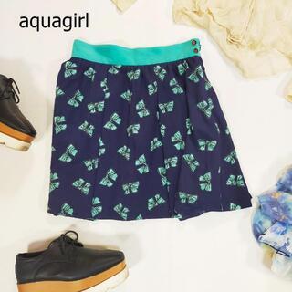 アクアガール(aquagirl)のアクアガール スカート ネイビー 水色 リボン柄 ミニ丈 日本製 サイズ38 M(ミニスカート)