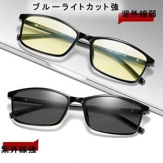 ○ブルーライトカット 調光メガネ 超軽量 17グラム 度なし 伊達眼鏡