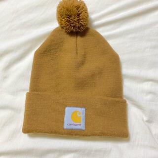 カーハート(carhartt)のcarhartt  カーハート ビーニーニット帽 ポンポン付帽子キャメルベージュ(ニット帽/ビーニー)