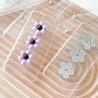 デイジー♥ハンドメイドクリア iPhoneケース【パープル】お花(iPhoneケース)