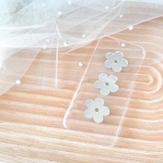 【ミラー】デイジー♥ハンドメイド クリア iPhoneケース お花(iPhoneケース)