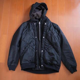 サカイ(sacai)のSacai gem キルティング組み合わせフード付ブルゾン 黒(フライトジャケット)