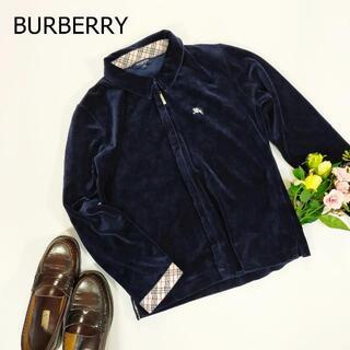 バーバリー(BURBERRY)のバーバリー ベロアブルゾン ネイビー ジップアップ ワンポイント 刺繍 M(ブルゾン)