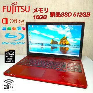 フジツウ(富士通)の富士通ノートPCi7 メモリ16GB 新品SSD512GB office2019(ノートPC)