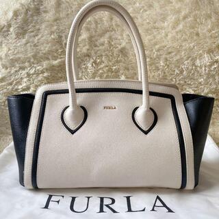 Furla - フルラトートバッグ カレッジ バイカラー 肩掛け可 レザー ブラック ホワイト