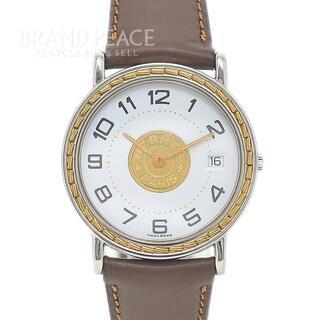 エルメス(Hermes)のエルメス セリエウォッチ 白文字盤 SS/GP 革ベルト クォーツ メンズ(腕時計(アナログ))