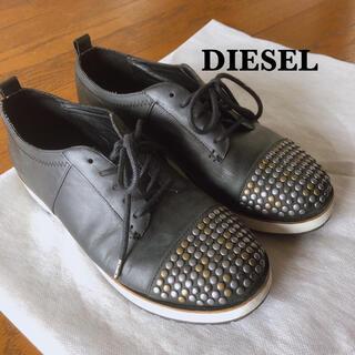 ディーゼル(DIESEL)のDIESEL スタッズ付 レザースニーカー 24cm(スニーカー)