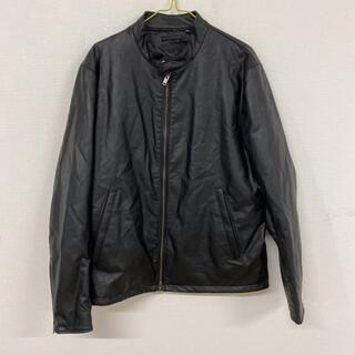 ユニクロ(UNIQLO)の♪UNIQLO ユニクロ フェイクレザー ライダースジャケット 黒 XL オ10(ライダースジャケット)