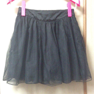 ローリーズファーム(LOWRYS FARM)のチュールスカート 黒(ミニスカート)