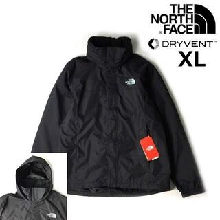 THE NORTH FACE - ノースフェイス ナイロンジャケット パーカー(XL)黒 グレー刺繍180915